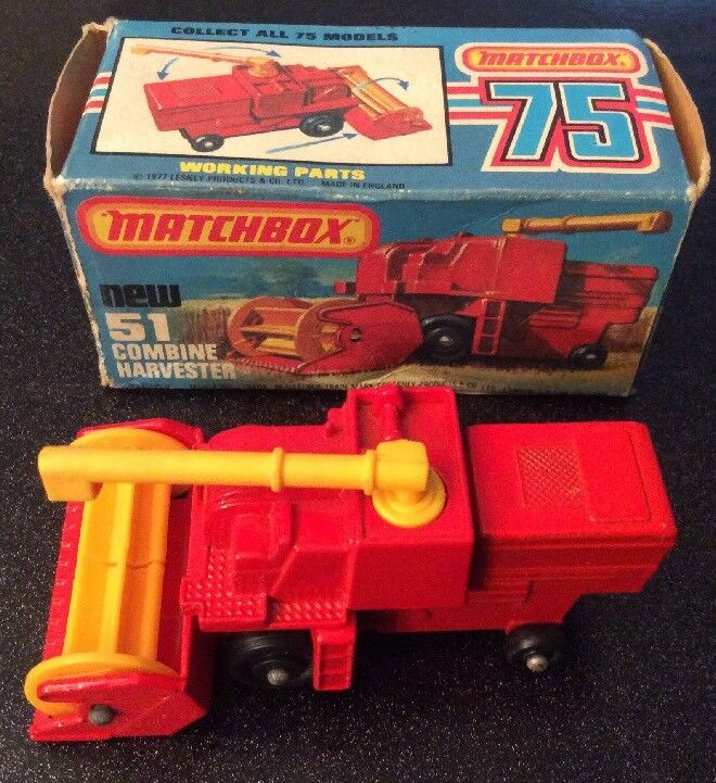 Vintage Lesney Matchbox Superfast   Red Combine Harvester Ex Cond Boxed