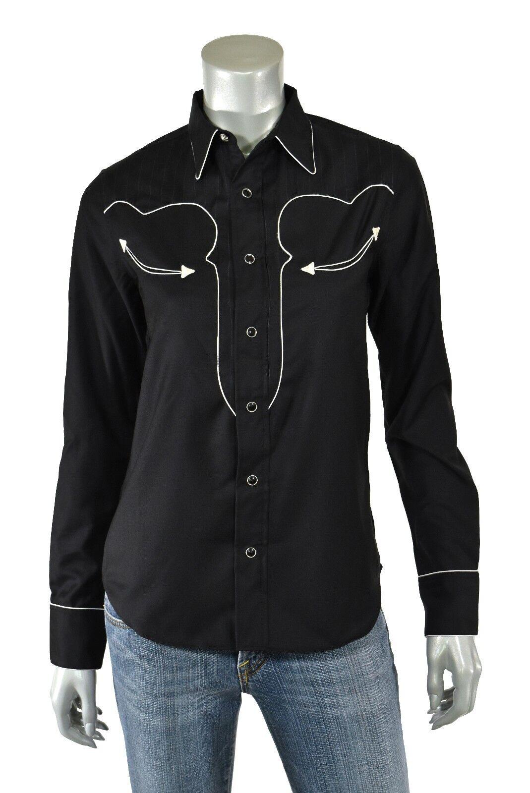 Woherren Ralph Lauren RRL schwarz Wool Western Shirt New