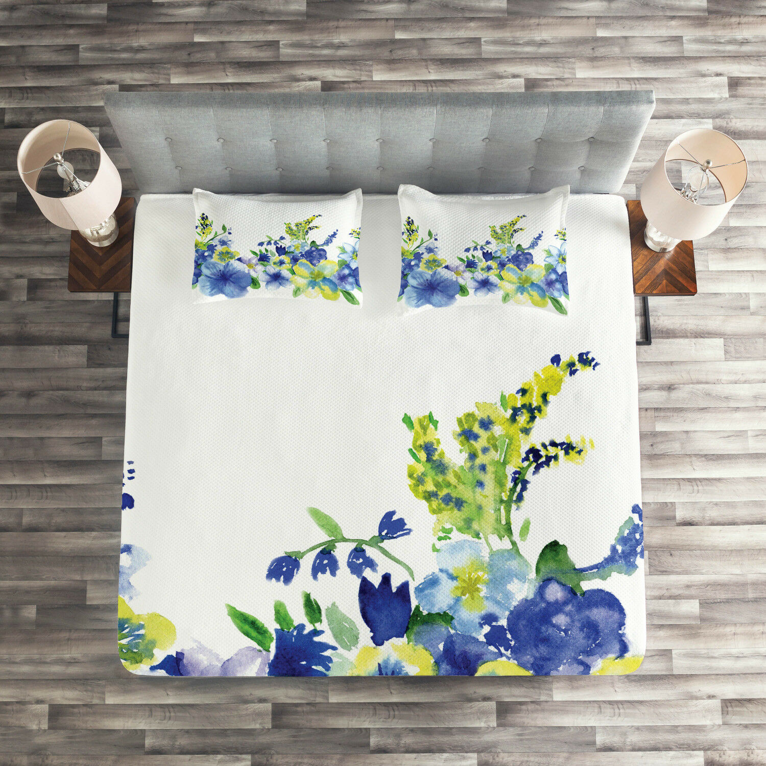 Floral Quilted Coverlet & Pillow Shams Set, WaterFarbe Flower Print