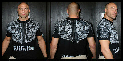 AFFLICTION Men T-Shirt GLADIATOR Tattoo BLACK Motorcycle Biker MMA UFC Jeans $74