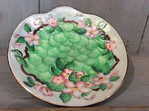 Maling-Embossed-Relief-Plate-Green-Apple-Shaped-Dish-Pink-Blossom-Decoration