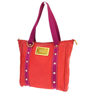 Auth-LOUIS-VUITTON-Cabas-MM-Tote-Shoulder-Bag-Antigua-Canvas-Red-M40034-30BP571