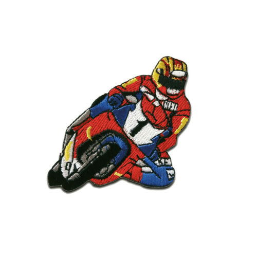 rot 6,3x5,3cm Motorrad Rennfahrer Biker Aufnäher // Bügelbild