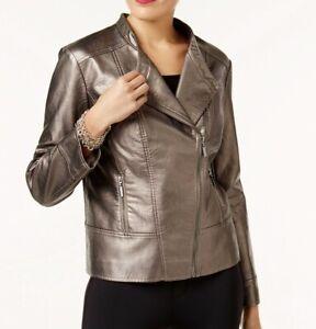 NEW-Alfani-Petite-Women-039-s-Metallic-Faux-Leather-Moto-Jacket-Pewter-Sz-PP-PM-99