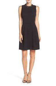 Eliza J Bejeweled Neck Crepe Fit Amp Flare Black Dress Sz 12