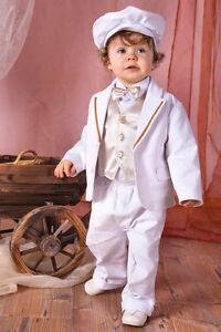 Caricamento dell immagine in corso ABITO-BATTESIMO-maschietto-vestito- cerimonia-VELLUTO-bianco-oro- 99019643498