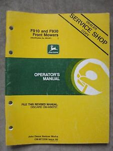 john deere f910 f930 front mower operators manual serial no 360 001 rh ebay com ferris mower operator manual kuhn mower operator's manual