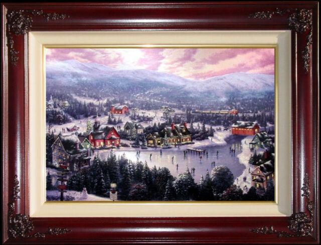 Thomas Kinkade Sunset on Snowflake Lake 18x27 S/N Limited Canvas