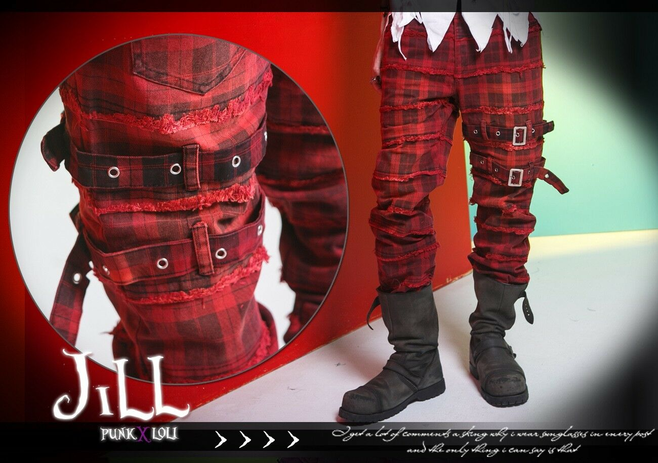 British Punk emo Oasis unravelling seam scottish tartan dress pants GA230 R
