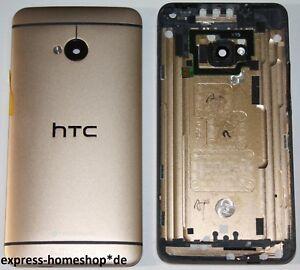 HTC-One-M7-Akkudeckel-Deckel-Schale-Battery-Cover-Gehaeuse-Backcover-Gold-Or