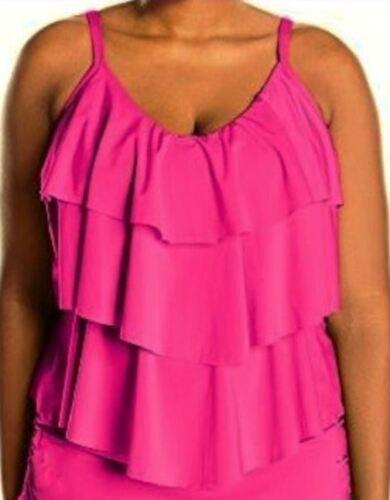 KENNETH COLE Ruffle Shuffle Pink Tummy Control Tankini Swim Suit Womens 2X 3X