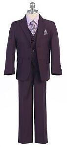Boy Toddler Kid Teen 5PC Wedding Formal Party Plum Suit Tuxedo w/ Vest size 2-20
