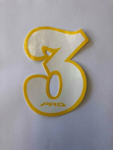 NOS PRO BMX Motocross number plate number 3 White//Yellow vintage oldschool