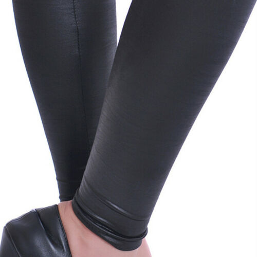 Women Latex Leggings PVC PU Leather Skinny Leather Ankle-length Stretchy Pant-x