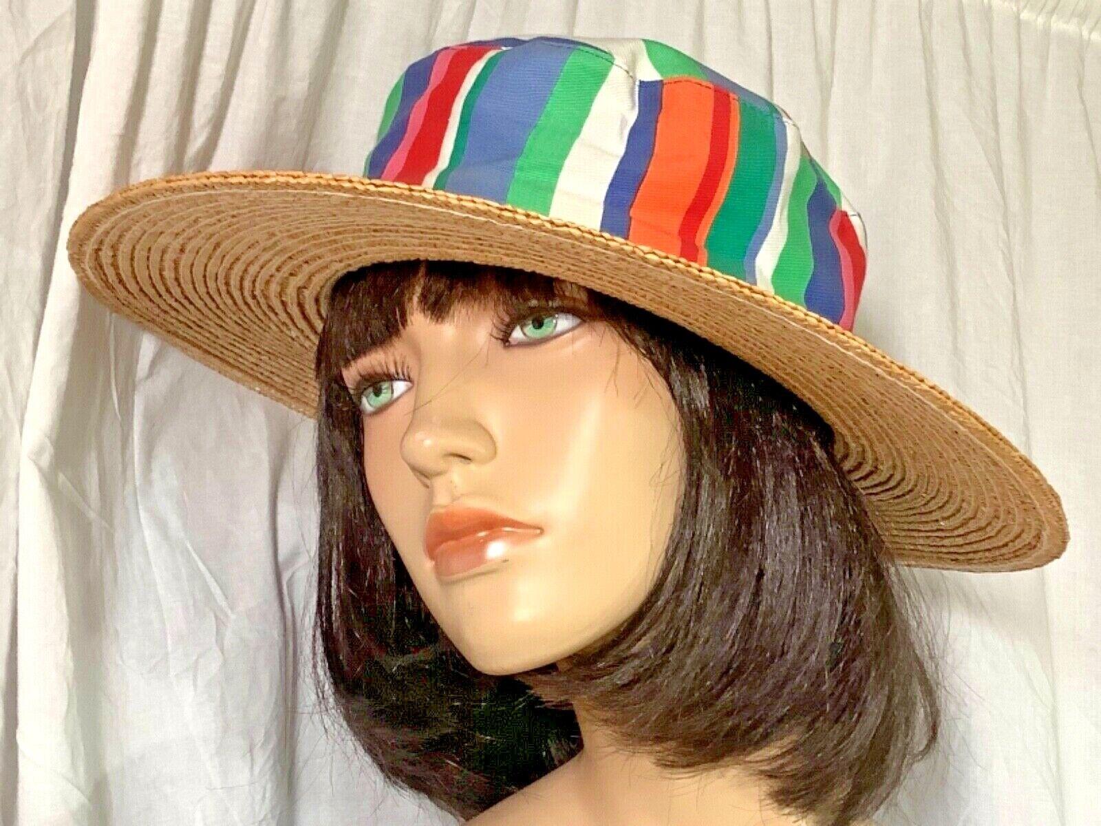 Liz Claiborne Striped beach Hat fabric Milan straw Brim hat 22.5 sun Cotton soft