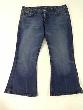 SEVEN FOR ALL MAN KIND WOMENS DARK WASH BLUE DENIM CROPPED CAPRI JEANS SIZE 31