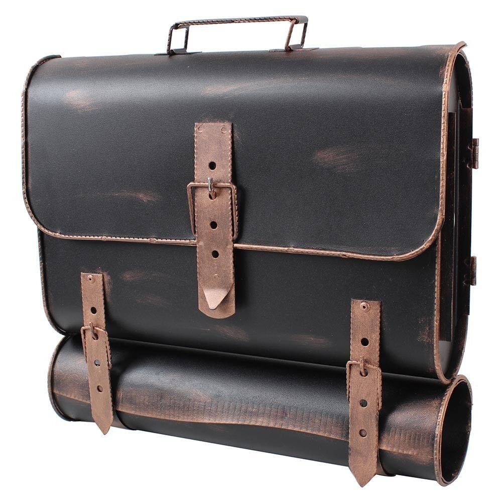 Designer Briefkasten mit Zeitungsfach Bronze rechts Antik Look Posttasche N605