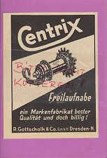 DRESDEN, Werbung 1934, R. Gottschalk & Co. GmbH Centrix Freilaufnabe