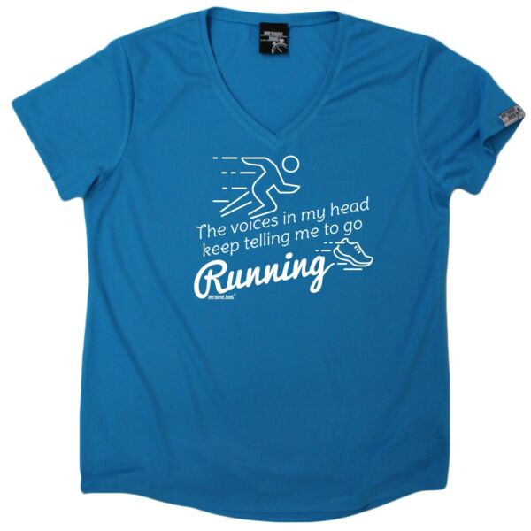 5682816cb9b544 Ladies Running The Voices Tell Me To Go Running DRY FIT V NECK T-SHIRT