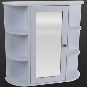 White wooden indoor wall mountable bathroom cabinet with shelves and mirror door for Wooden bathroom mirror with shelf