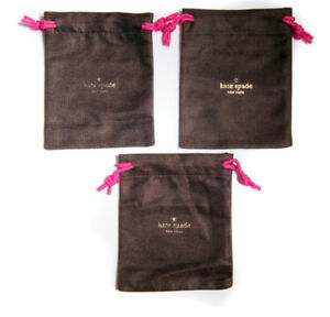 "Lot of 4 KATE SPADE Small Brown Jewelry Pouch for Earrings//Ring 4/""x4/"""