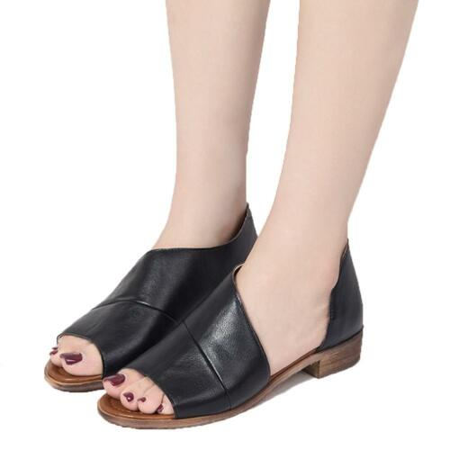 Retro Women Slip On Flat Leather Shoes Single Shoes Pointed Toe Leather Loafers