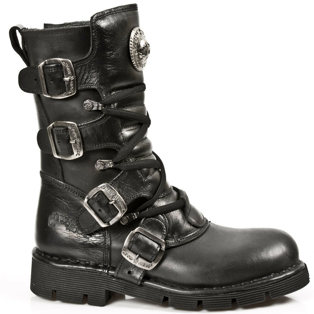 NEWROCK New Rock M.1473 S1 Black Biker Unisex Style Real Leather Biker Black Goth Rock Boots 761833