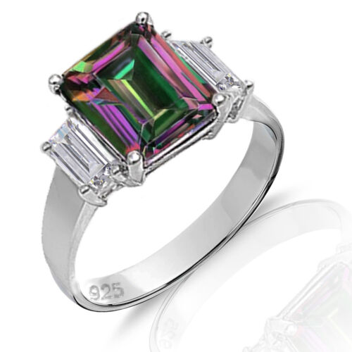 Grande taille émeraude Mystic rainbow Topaz avec baguette Genuine Sterling Silver Ring