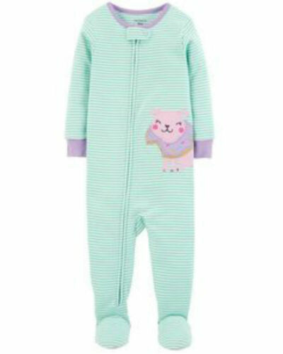 NWT Carter's Girls/' One PIece Cotton Sleeper//Pajamas 12 months Donut Dog