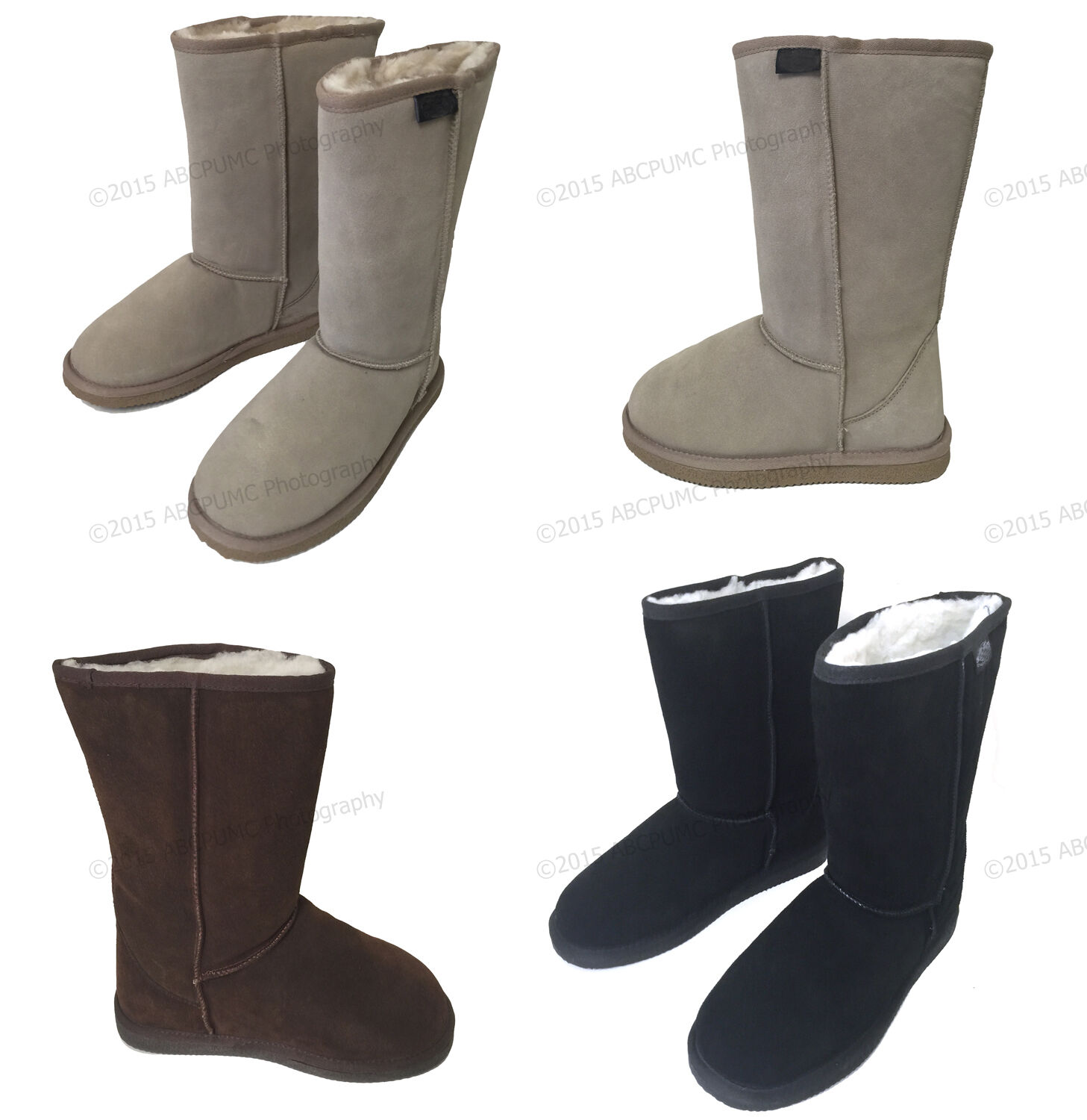 "Women's Winter Boots Fashion Suede 10"" Mid Calf Shearling Warm Fur Shoes, Sizes"