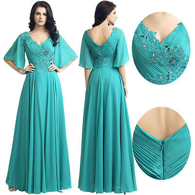 Plus Chiffon Beaded Long Mother Of The Bride/ Groom Dress Formal Wedding Gown