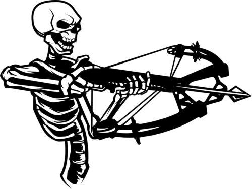 Crossbow Skeleton Hunter Bow Deer Skull Car Truck Window Vinyl Decal Sticker