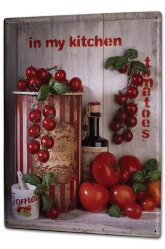 Blechschild XXL Weltenbummler Tomaten Basilikum Küche