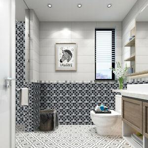 10Pcs Mosaic Sticker Kitchen Bathroom Wall Tile Stickers Self-adhesive Art Decor