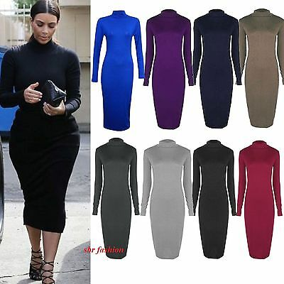 Ladies Women Turtle Polo Neck Long Sleeve Stretch Bodycon Midi Length Dress 8-26