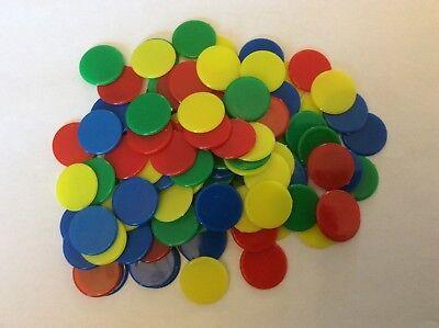 100 Colorato 2 Cm Di Diametro Contatori, 25 Ciascuno Di Rosso, Blu, Verde E Giallo.-mostra Il Titolo Originale