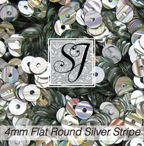 1oz 4MM STRIPED Round SILVER Mini Sequins 8,000 sequins! New from SJ Designs