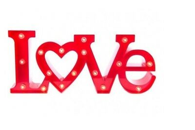 LOVE WORD LED LIGHT UP PLASTIC LOVE SIGN NIGHT RED LIGHT LETTERS