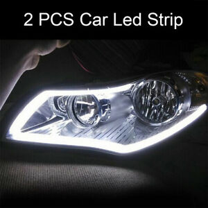 2x-Tube-Blanc-60cm-LED-Lampe-Lumiere-Eclairage-Phare-Flexible-DRL-Voiture-BA