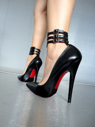 Black Leather Pumps Extreme Ankle Cq Heels 38 Schuhe Decolte High Nero Couture wHAq1S