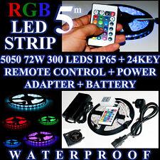 Striscia LED 5 m RGB Impermeabile Telecomando Batteria Alimentatore Casa Auto