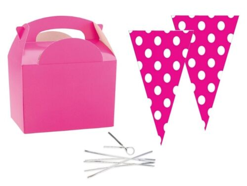 6 filles rose fête aliments boîtes avec pois rose cône sweet butin faveur sacs /& tie