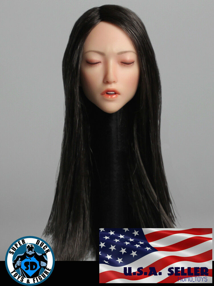 1 6 Asian Female Head Sculpt Closed Eye SDH009A For PHICEN Hot Toys Figure ❶USA❶