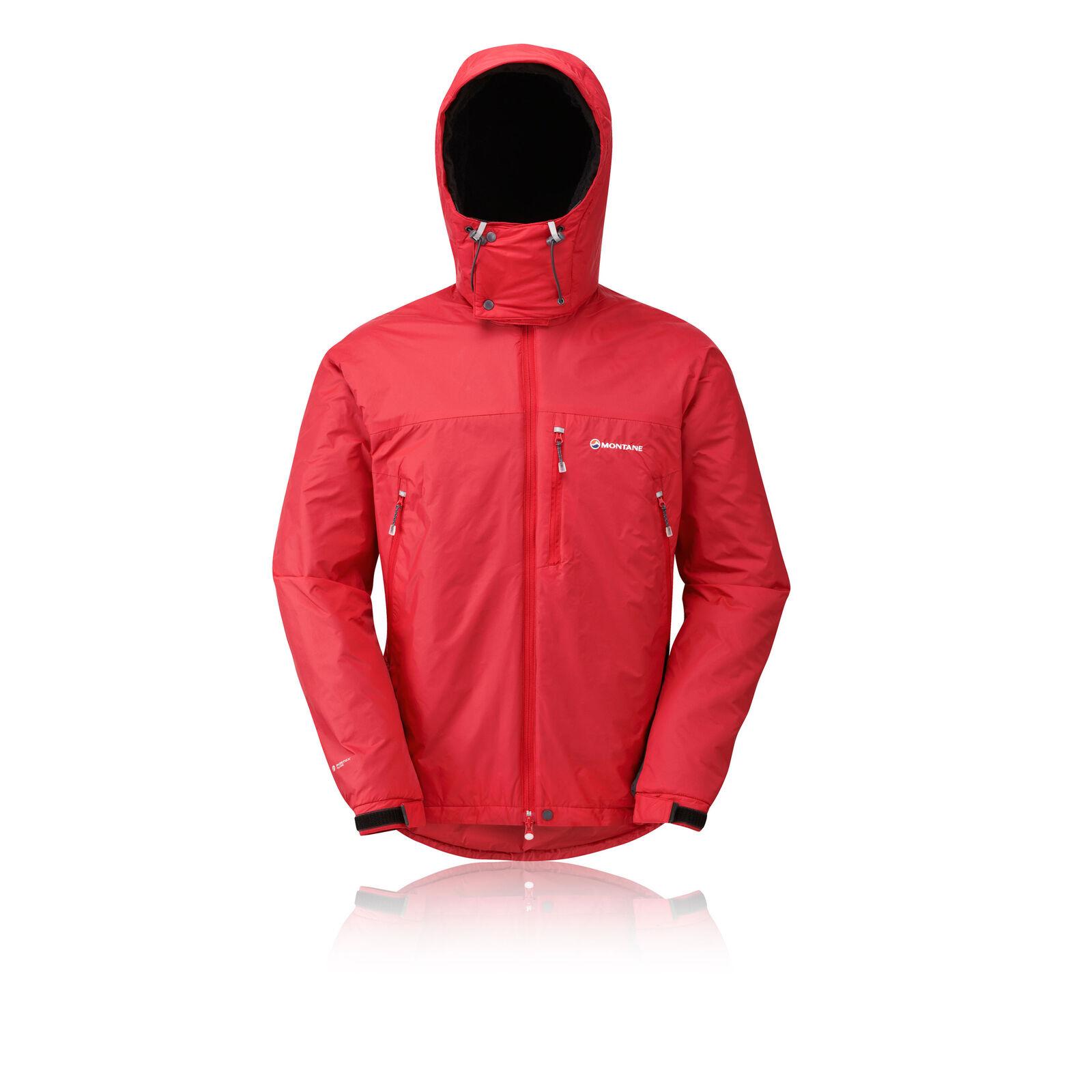 Montane Extreme Veste de running zippée pour hommes, coupe-vent et coupe-vent, rouge, coupe-vent