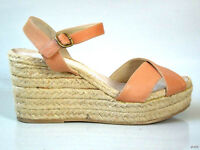 $248 Ettore Masotti Nordstrom Nude Leather Espadrille Wedge Shoes Italy 10