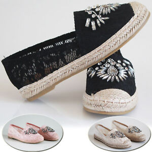 Womens Ladies Flat Slip On Summer Espadrille Shoes Diamante Casual Holiday Pumps