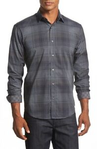 Bugatchi-Uomo-Shaped-Fit-Plaid-Sport-Shirt-NWT-Charcoal-S
