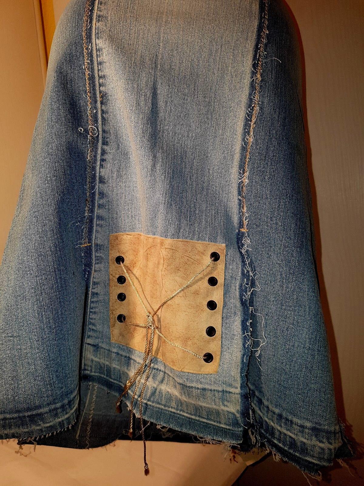N69-ITALY neu 34 36 s Jeans blau blau blau weich echt Leder beige Raffiniert STRETCH Rock 09fce0