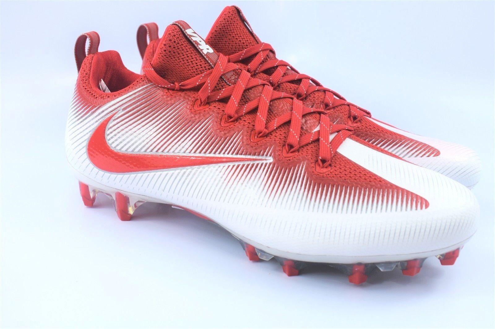 9d223fcdd83 NIKE Vapor Untouchable Football Cleats Size 12.5 Red orange White 844816-180
