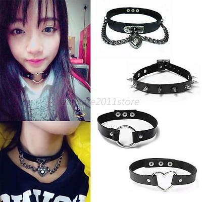 Punk Women Chic Gothic Leather Choker Heart Spike Rivet Collar Necklace Gift A69